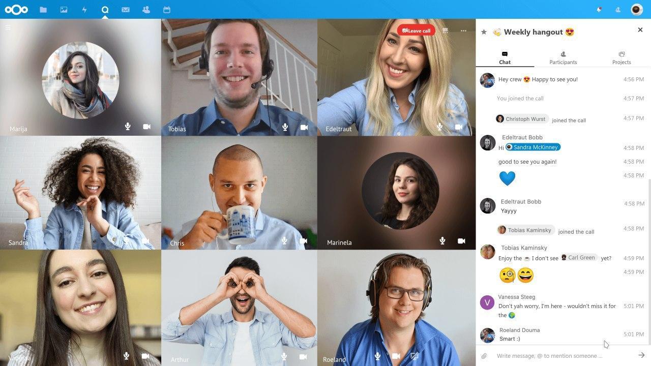 Talk, la solution entreprise de visioconférence de Nextcloud