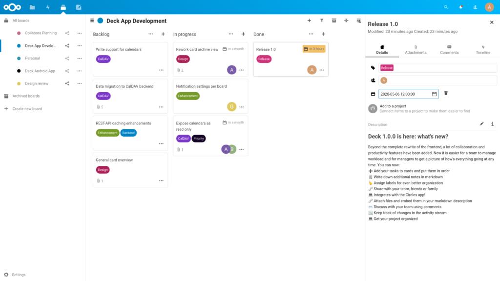 Gestion de tâches Deck dans Nextcloud