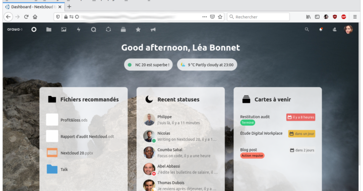 Le dashboard ou tableau de bord de Nextcloud 20