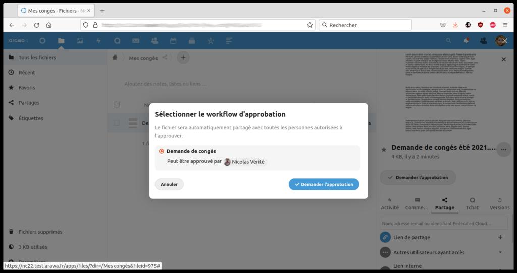 arawa nextcloud 22 workflows demande2